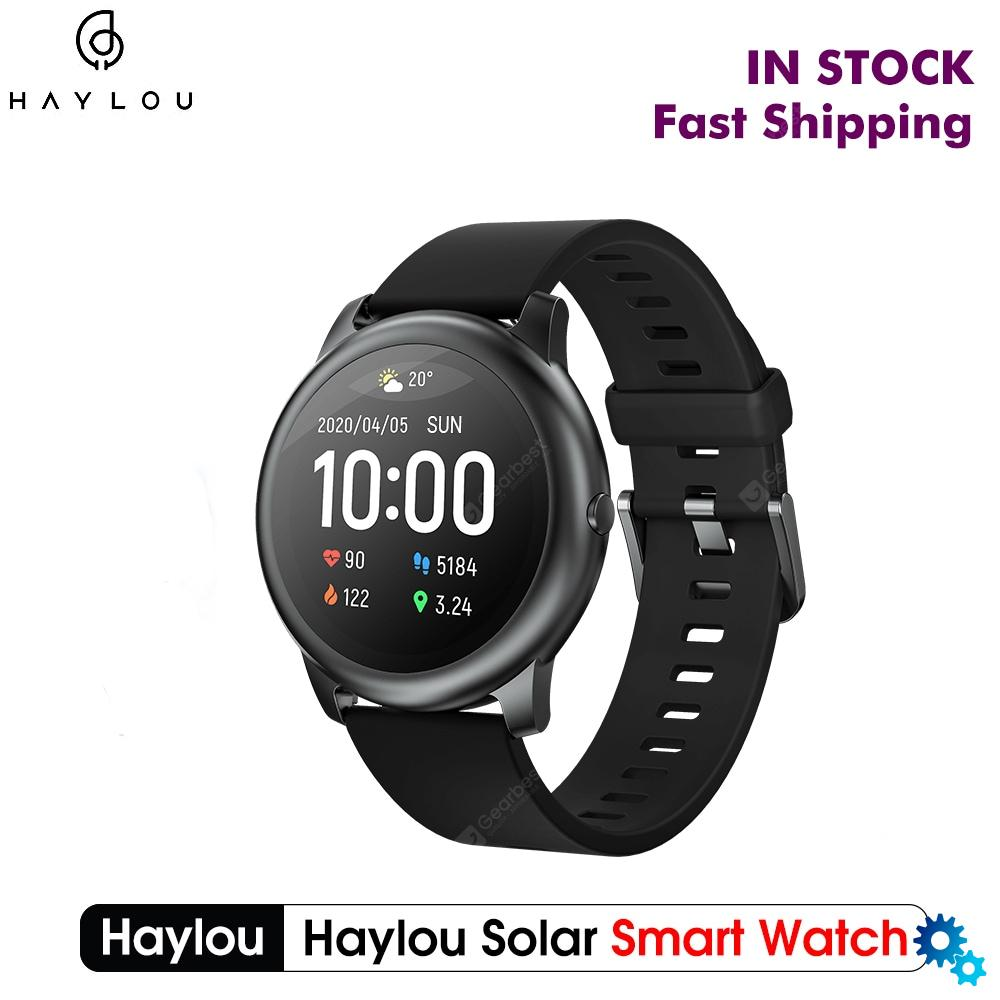 $26.99 New Global Version Haylou Solar Smart Watch 12 Sports Modes IP68 waterproof from Xiaomi youpin – Black China coupon code